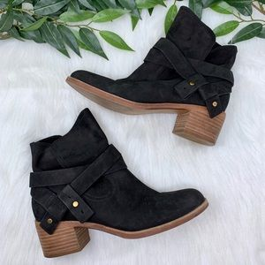 UGG Elora Black Suede Slouchy Heeled Ankle Boot 7